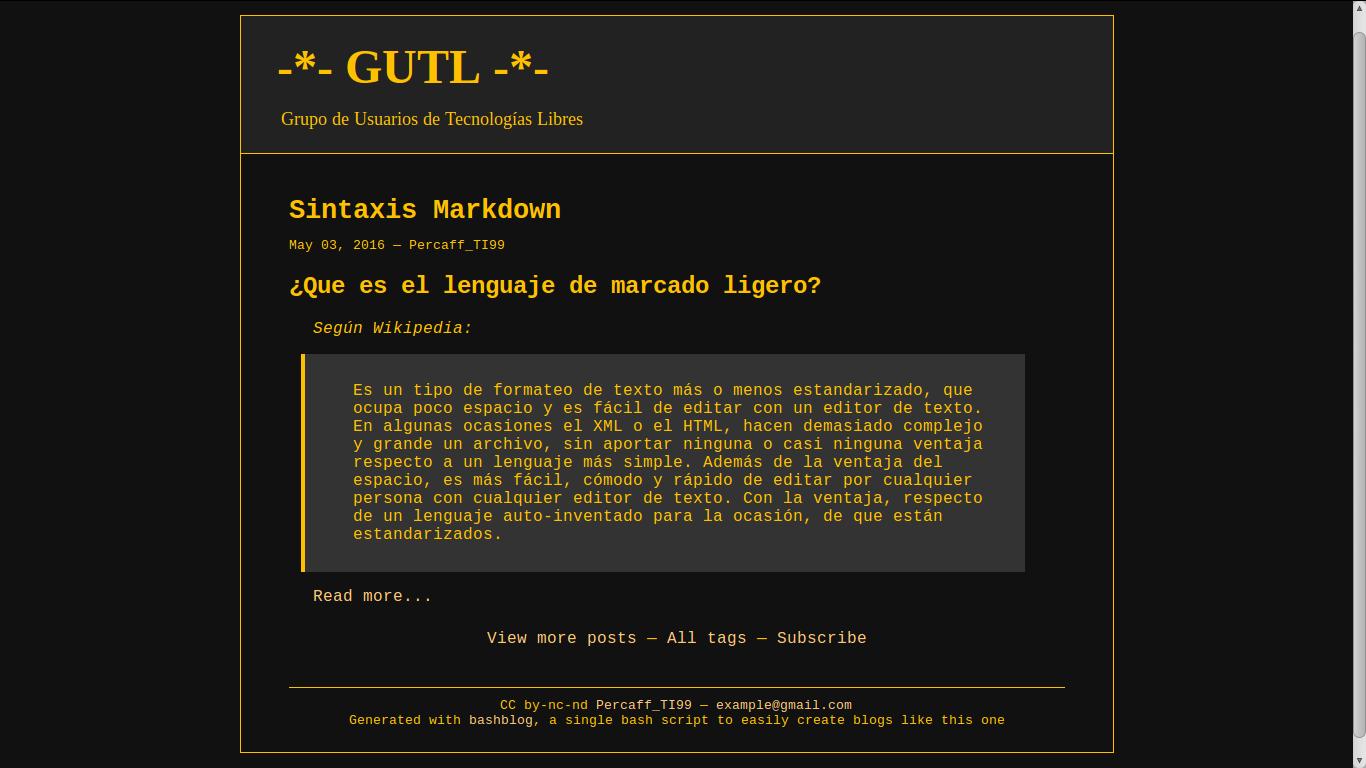 Generar blogs estáticos con BashBlog | GUTL