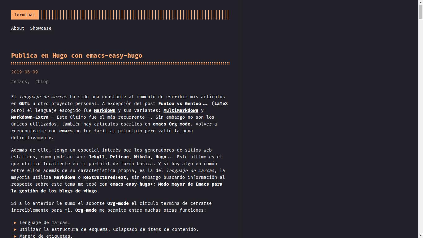 Publica en Hugo con emacs-easy-hugo | GUTL